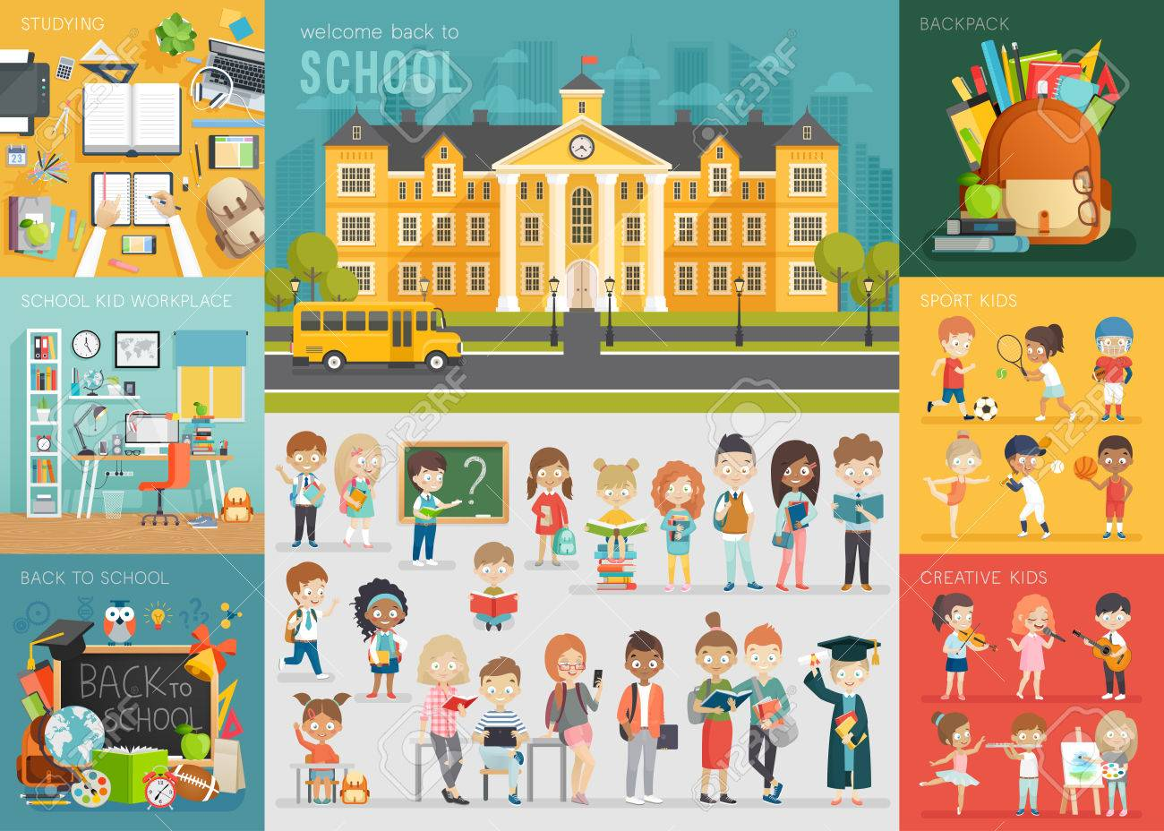 School theme set. Back to school, workplace, school kids and other elements. Vector illustration. - 59980157