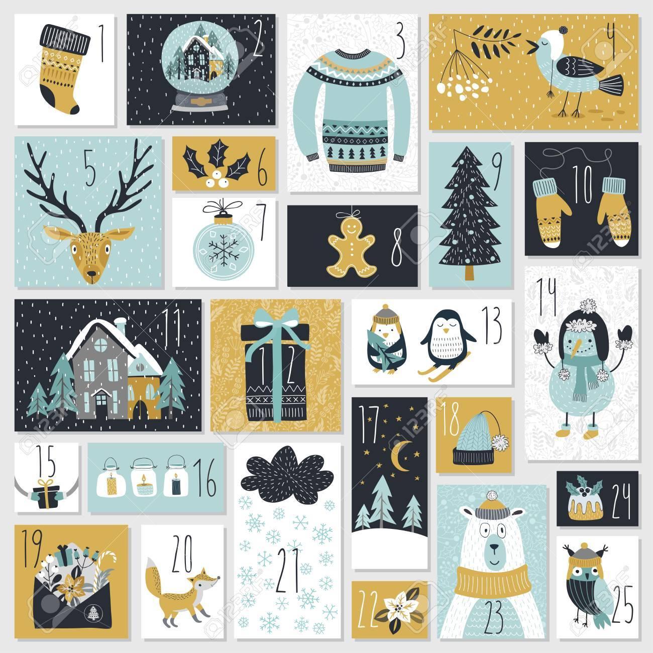 Christmas advent calendar, hand drawn style. Vector illustration. - 67582707