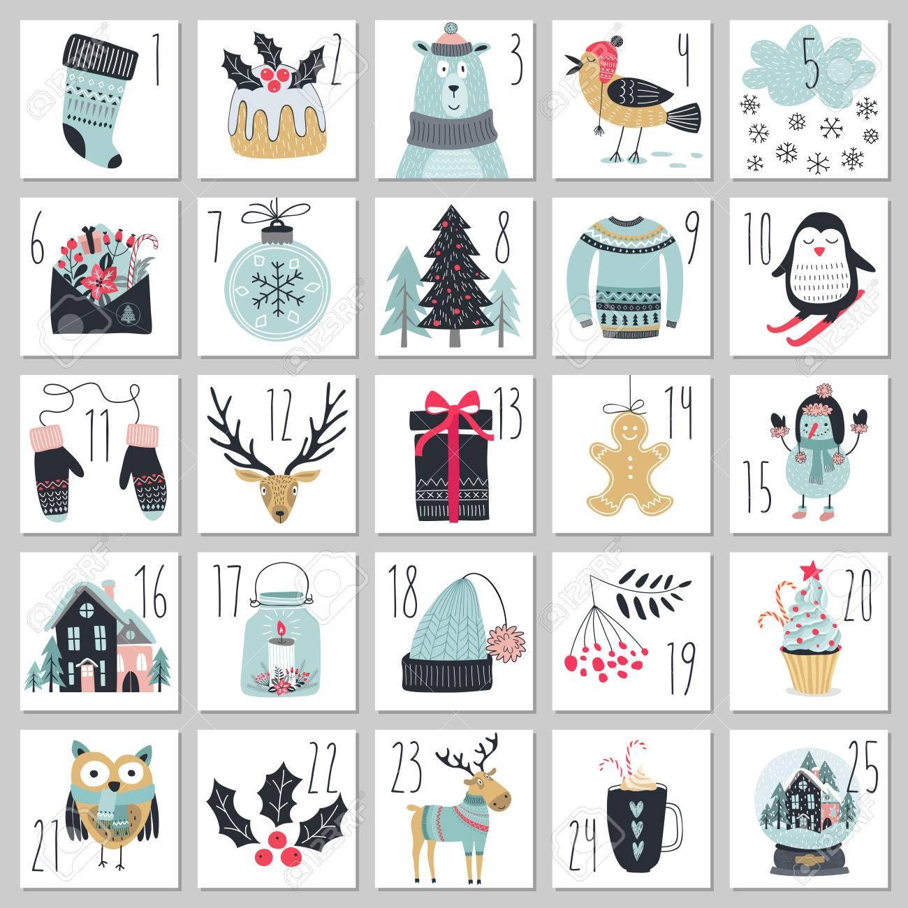 Christmas advent calendar, hand drawn style. Vector illustration. - 67582715