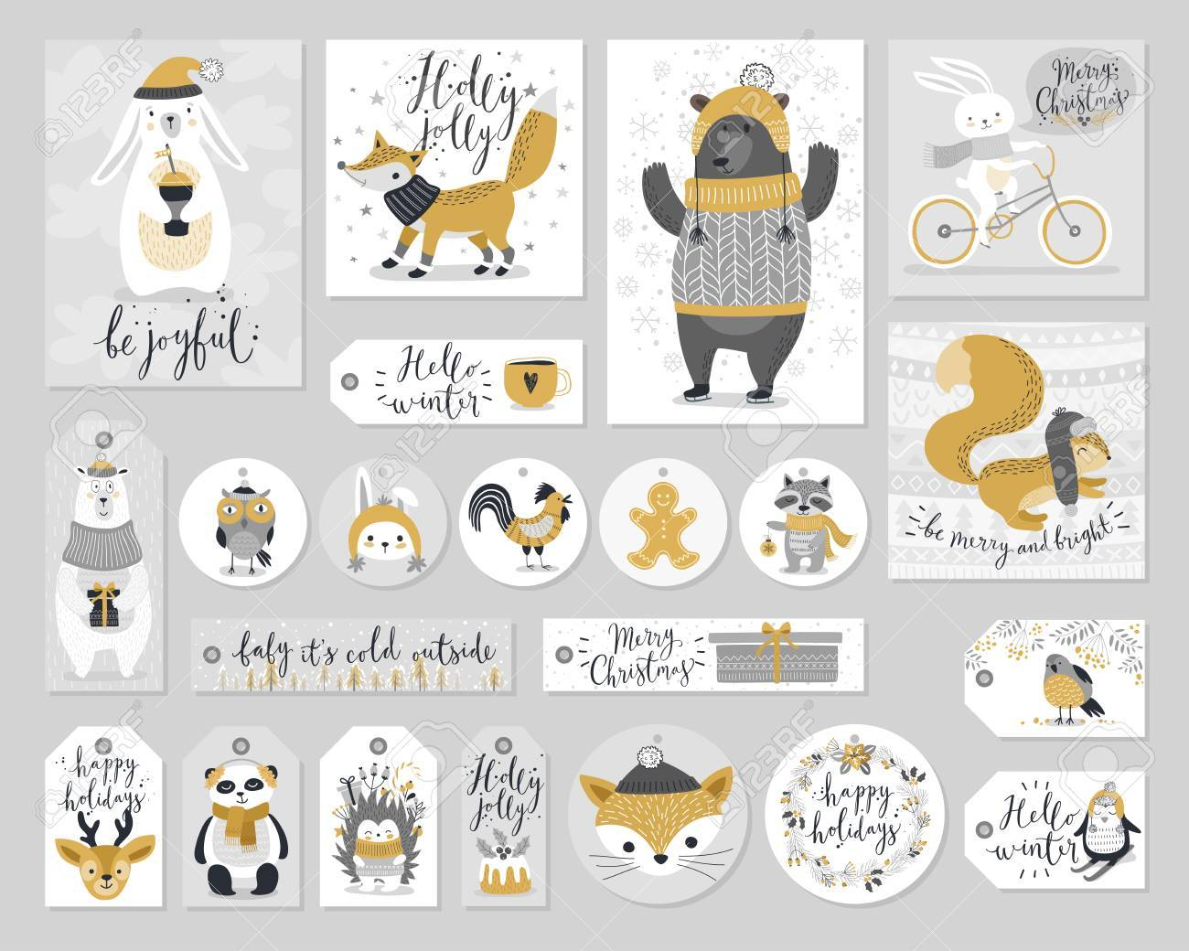 Christmas set, hand drawn style - calligraphy, animals and other elements. - 67594031