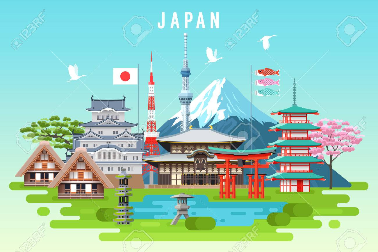 Japan travel infographic. Vector travel places and landmarks. - 72917590