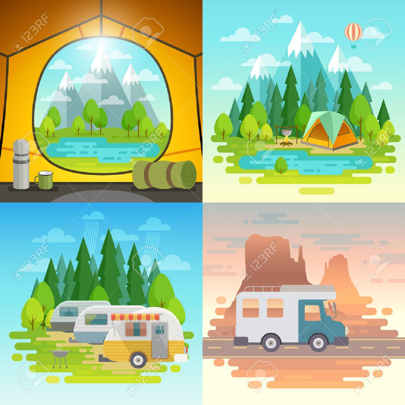 Camping concept, tent, caravan, house on weels. Vector illustration. Foto de archivo - 73619939