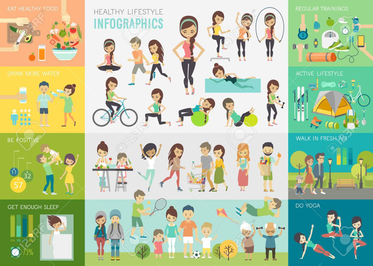 Healthy lifestyle infographic set with charts and other elements.Vector illustration. - 80194364