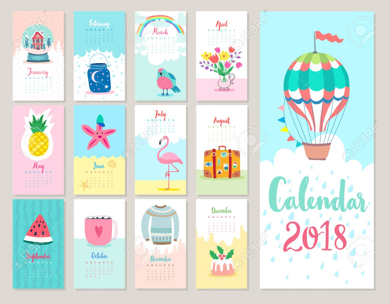 Calendar 2018. Cute monthly calendar with forest animals. - 86736660