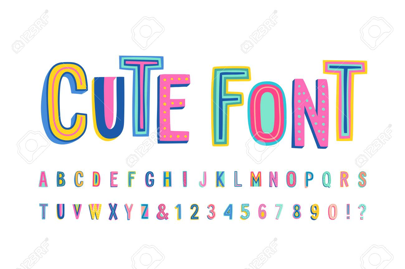 Uppercase cute alphabet font. Letters, numbers and symbols. Vector Hand drawn typography for banners, headlines, posters. Modern funny typeface. - 114893717