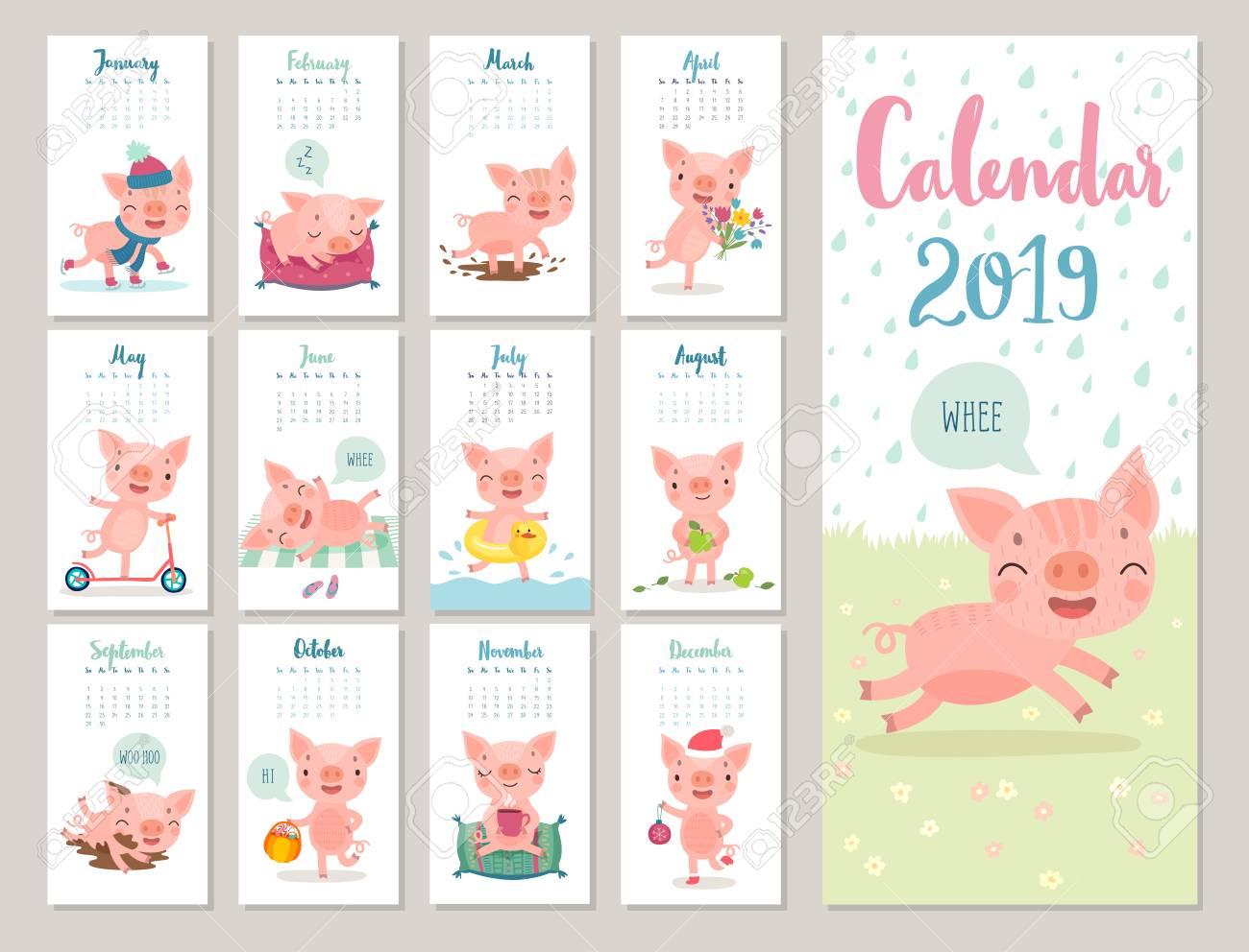 Calendar 2019. Cute monthly calendar with cheerful piggies. Hand drawn style characters. Travel theme. - 112264267