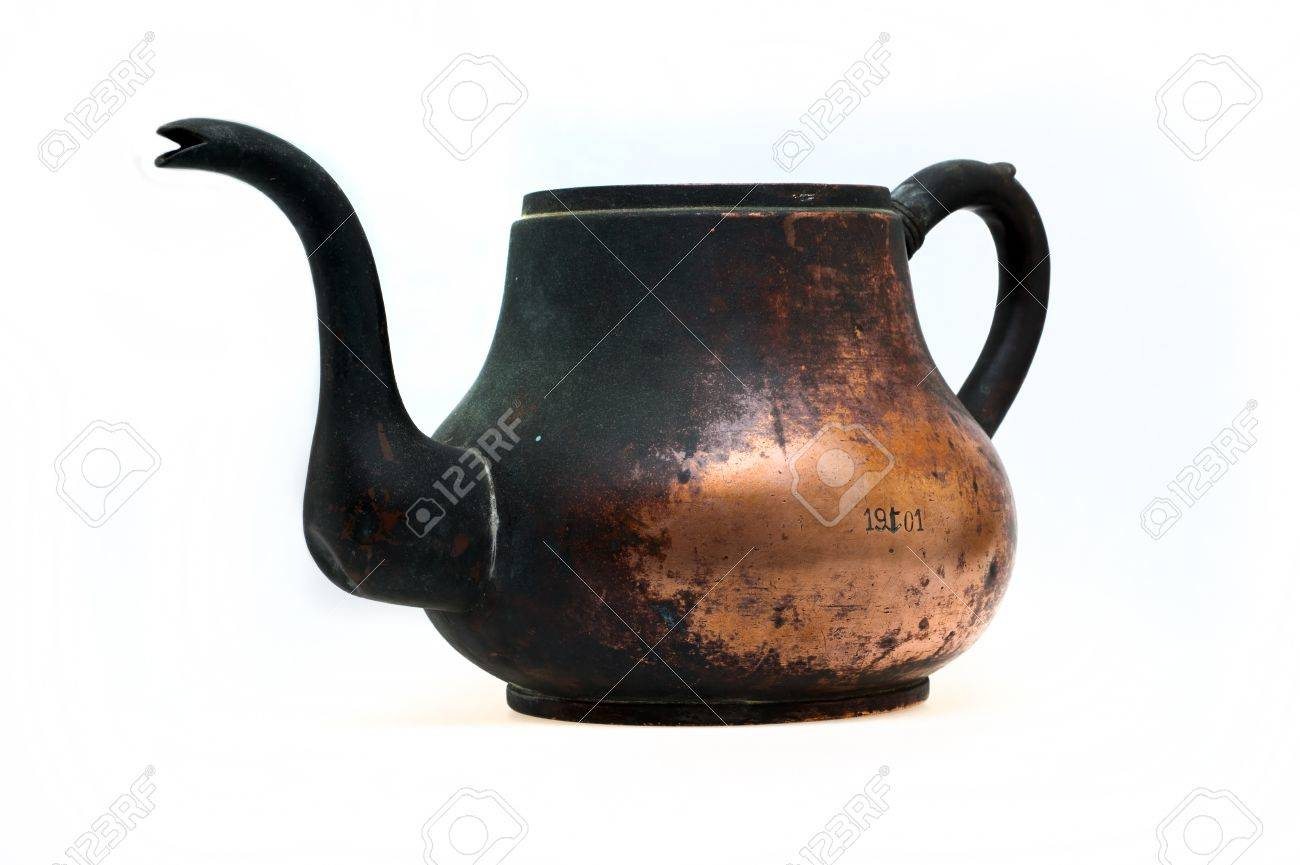 Ancient sea copper kettle. The Russian Cruiser