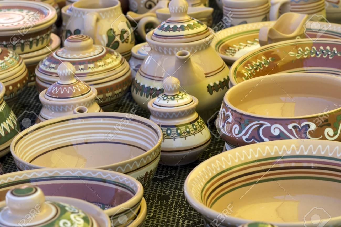 Stock Photo - Traditional ukrainian clay tableware on agricultural fair & Traditional Ukrainian Clay Tableware On Agricultural Fair Stock ...