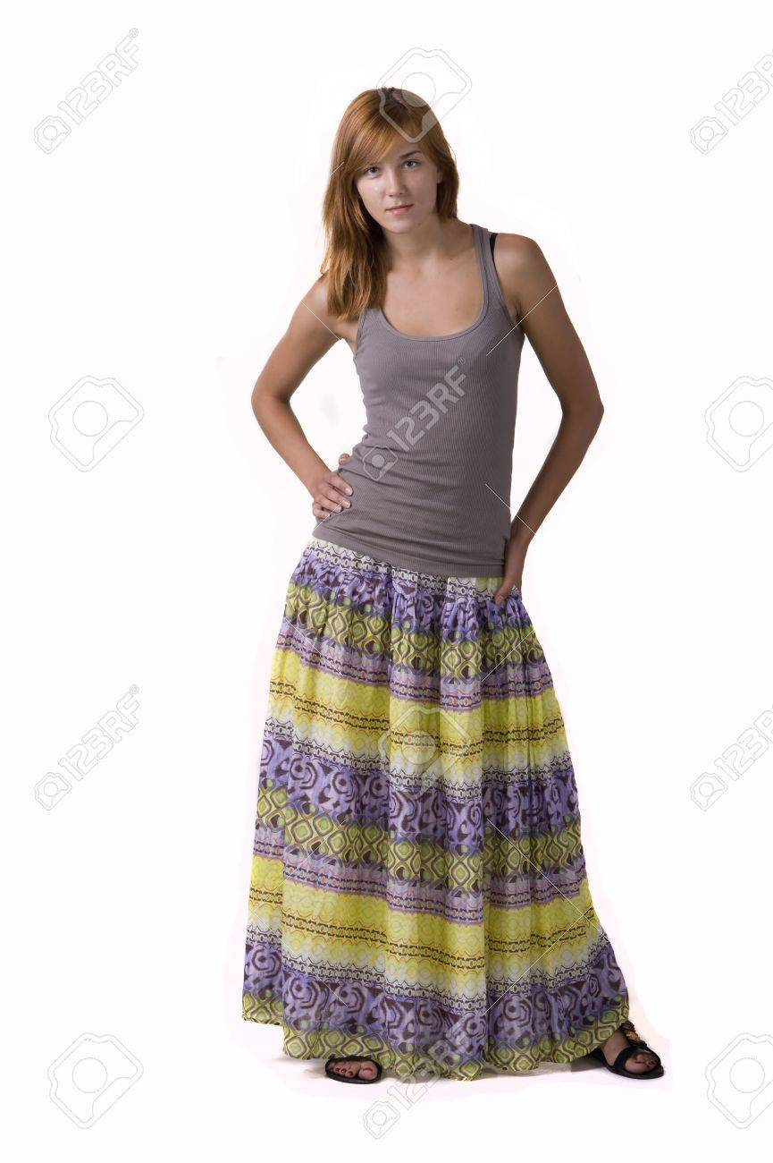 Portrait Of A Young Beautiful Woman In Long Skirt On A White ...