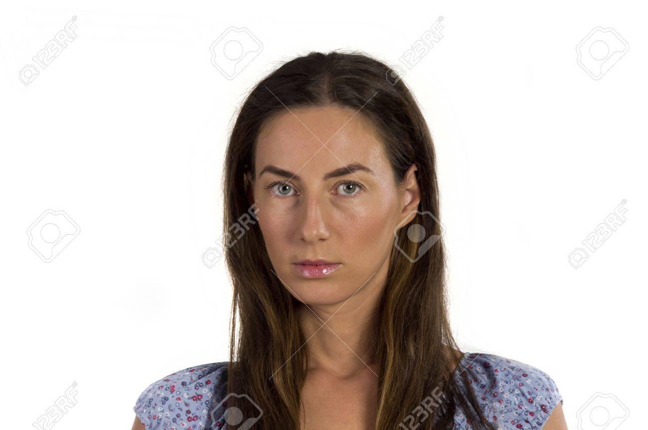 Portrait Einer Jungen Schönen Frau Mit Langen Haaren Auf Einem