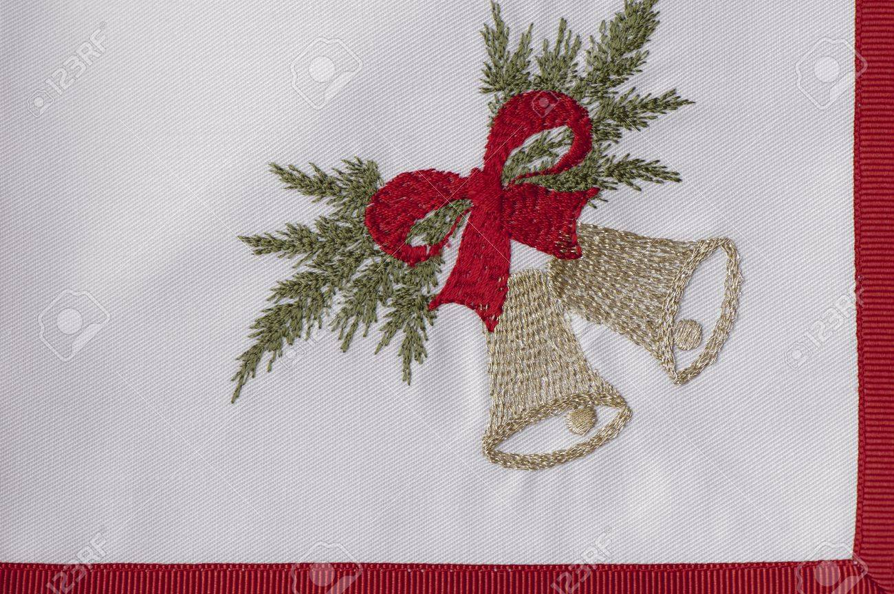 Christmas Napkins.Slice The White Embroidered Christmas Napkins