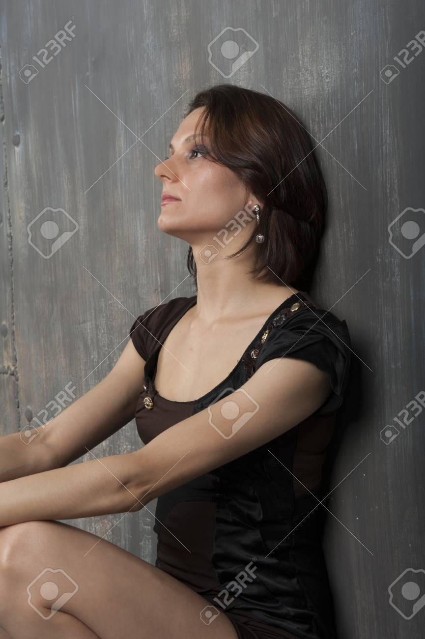 Portrait Of A Young Woman With A Cute Short Haircut Stock Photo