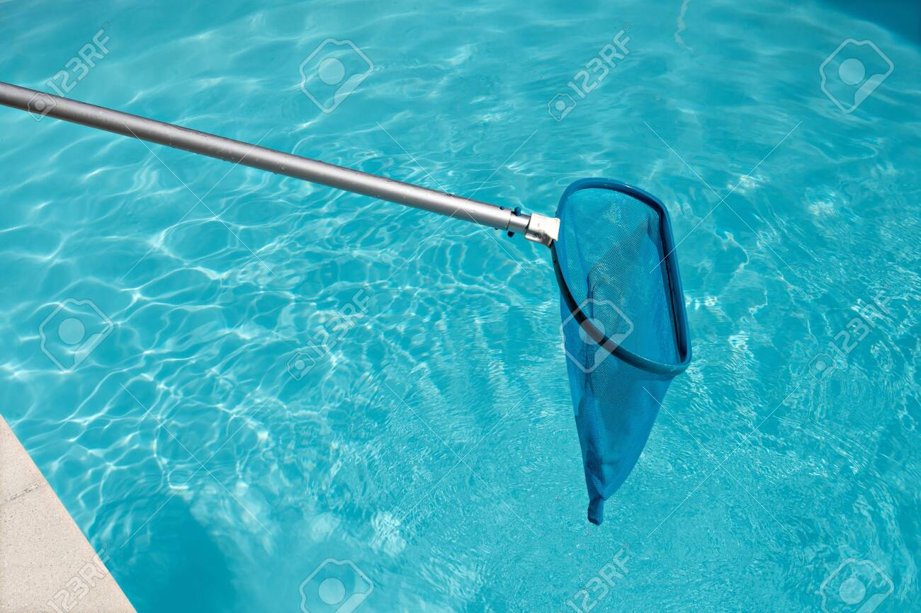 Pool Skimmer On Bright Water Surface In Swimming Pool Cleaning