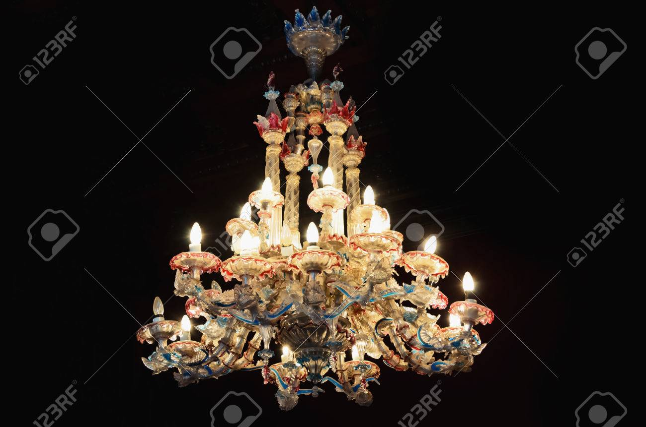 Old, large, colored, glass chandelier Stock Photo - 24633346