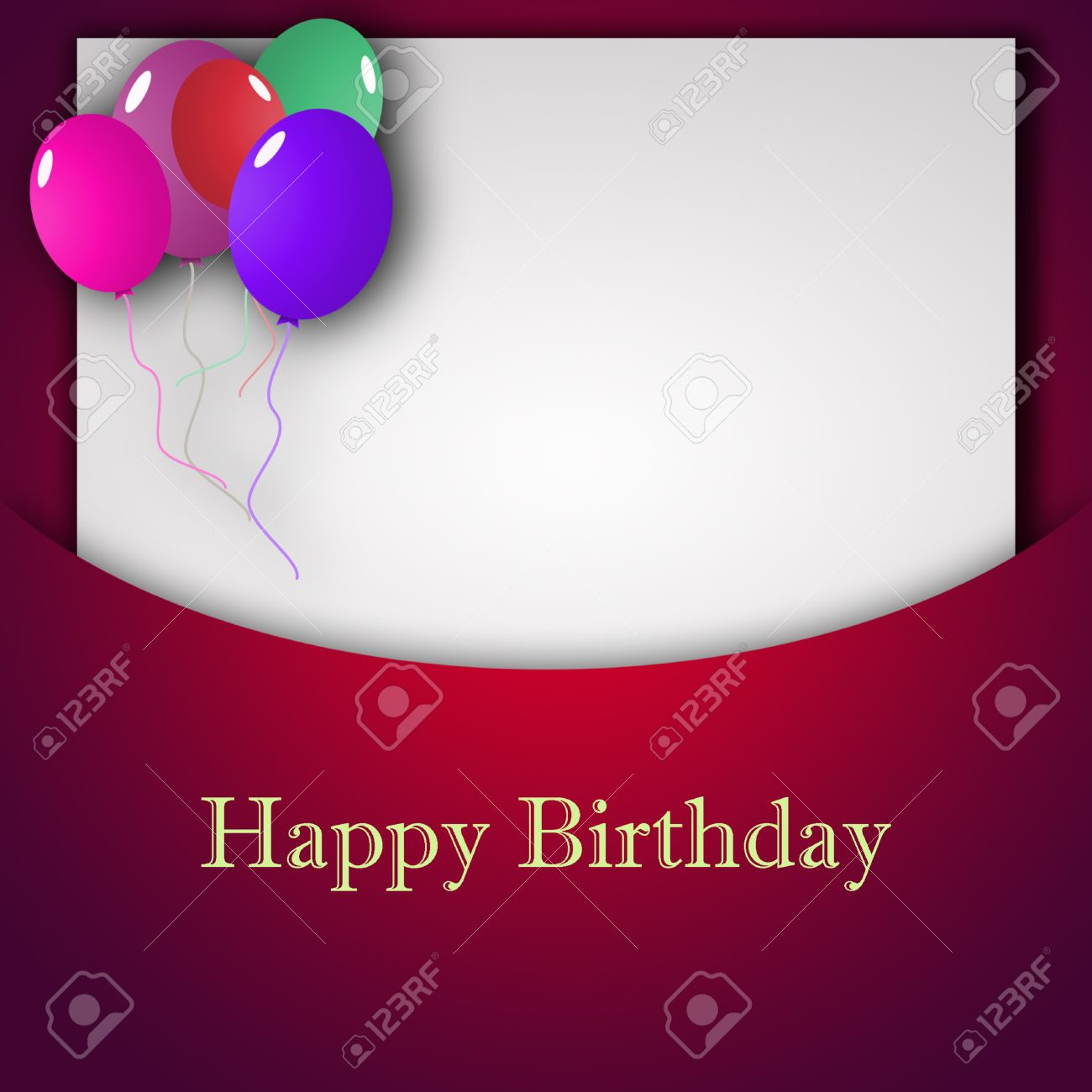 Template For Happy Birthday Greeting Card With Place For Text ...
