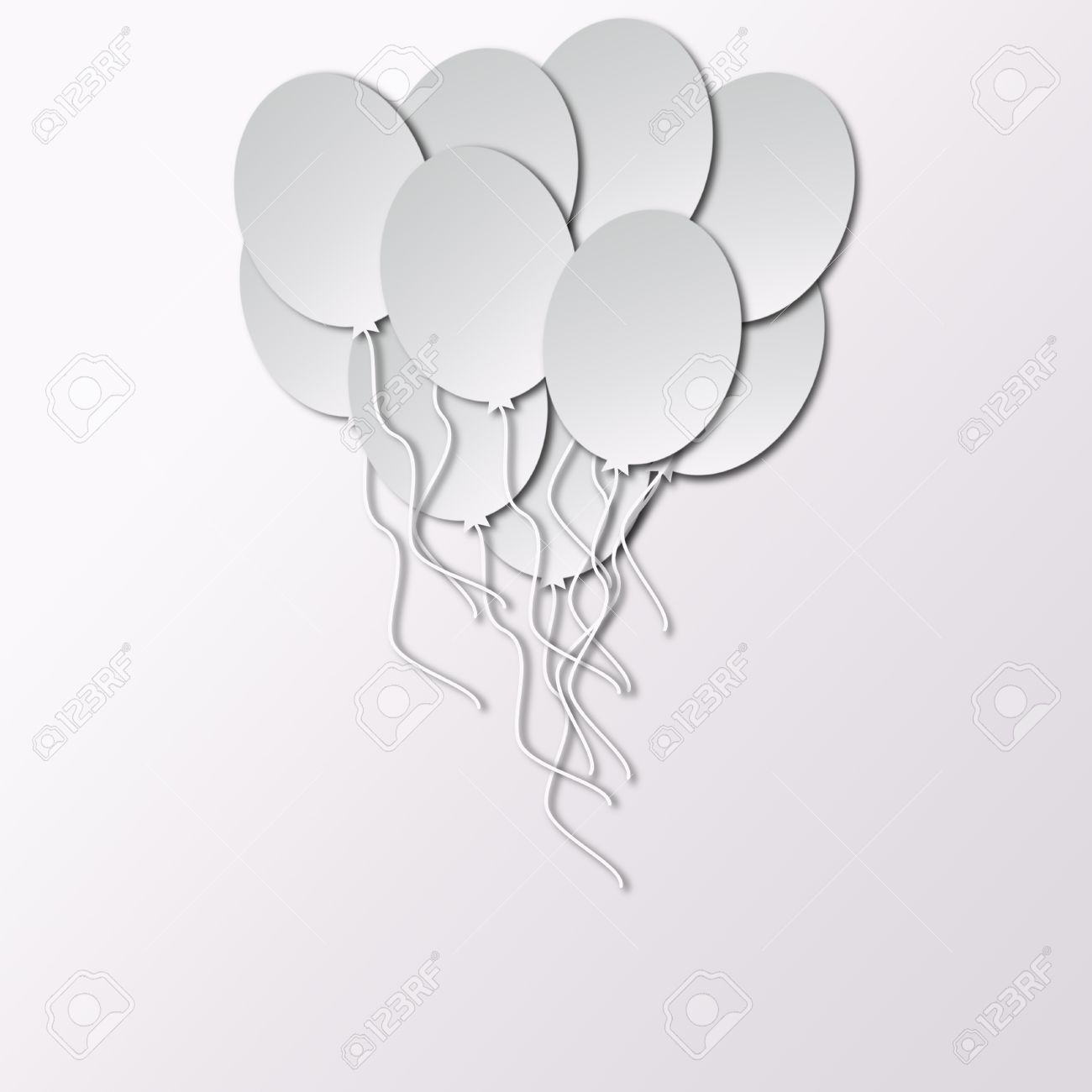 template for happy birthday greeting card with white balloons