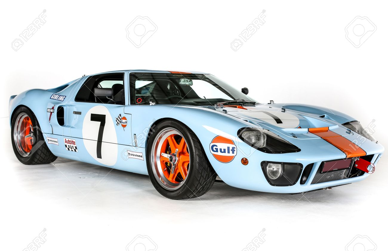 Gt40 ford racing car le mans vintage classic on white background in racing liveries stock photo