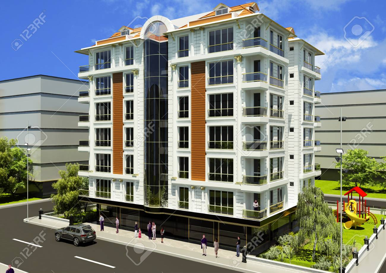 3D rendering of the building facade