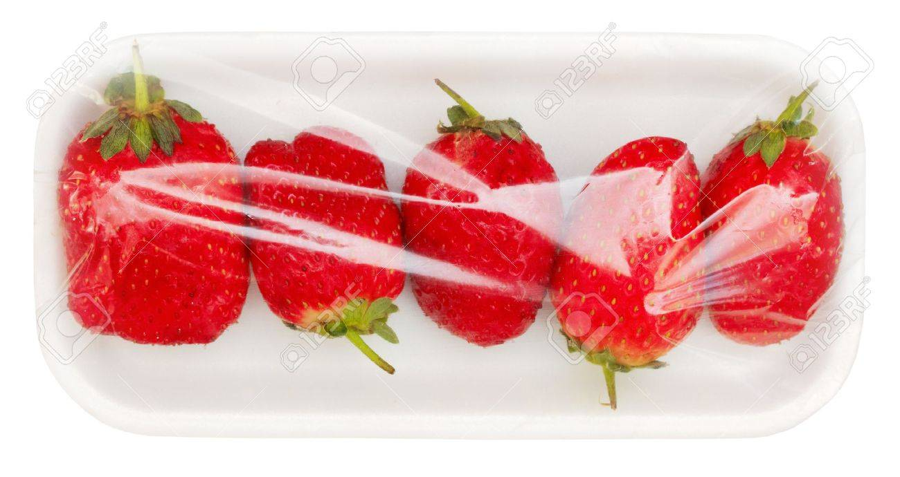 Strawberry In Vacuum Packing Isolated On White Background With Clipping Path Stock Photo