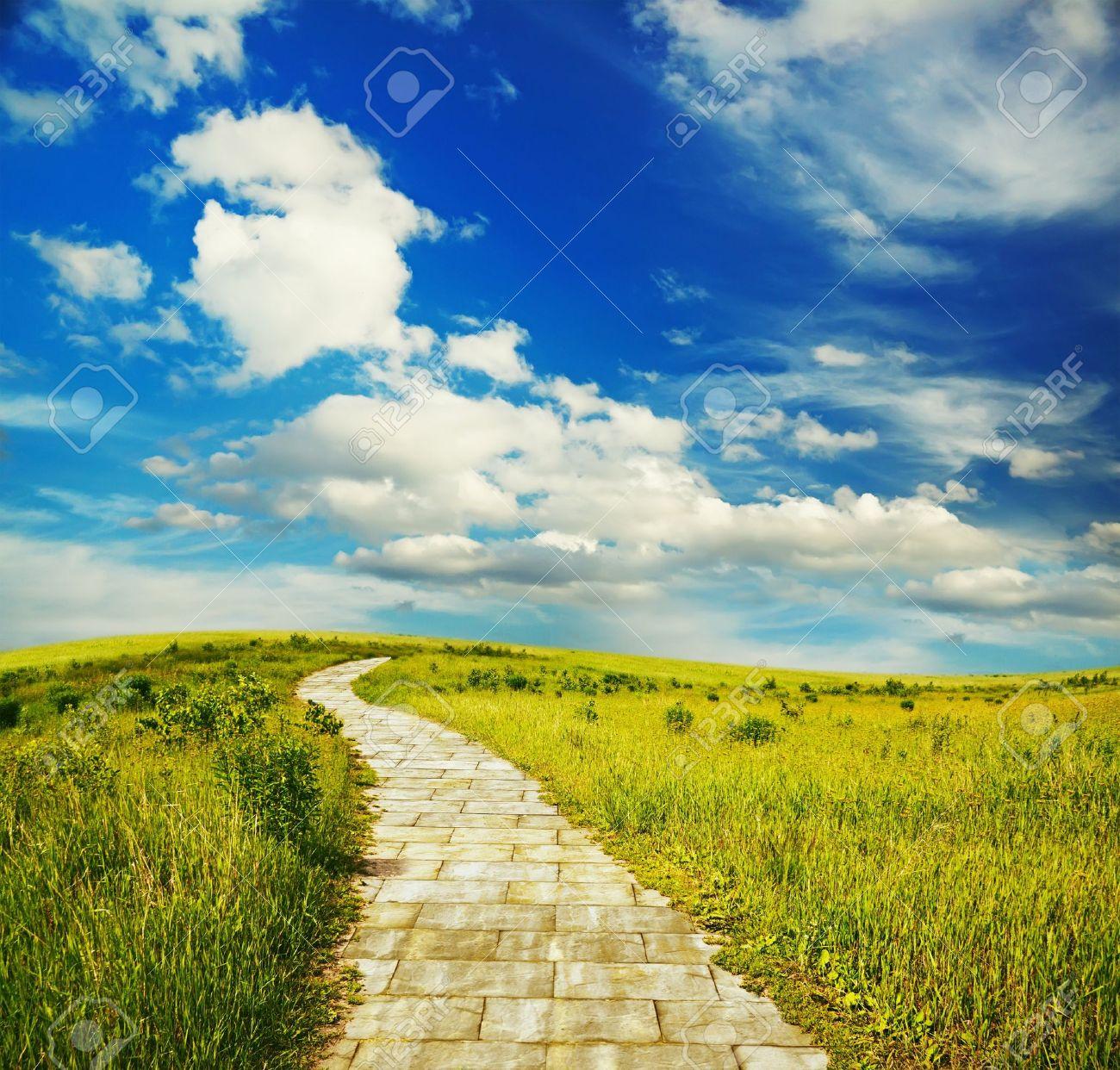 yellow brick road through green meadows, fantasy background - 10813225