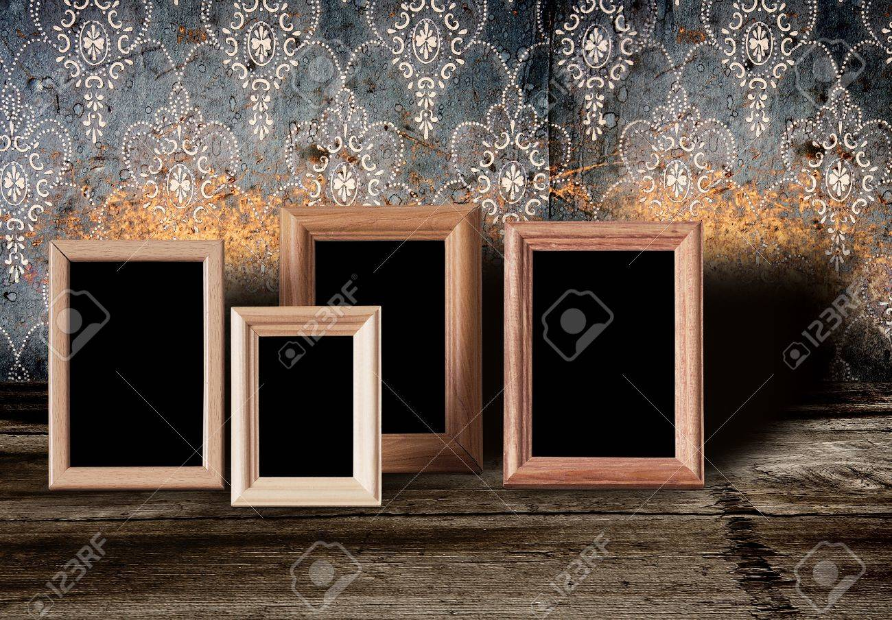 photo frames on old table Stock Photo - 11087606