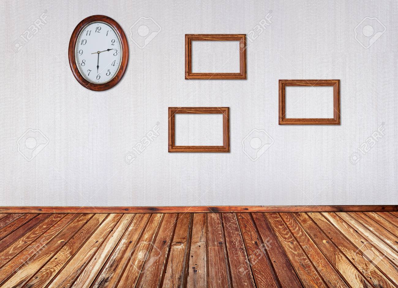 Interior With Frames And Wall Clock Stock Photo Picture And Royalty