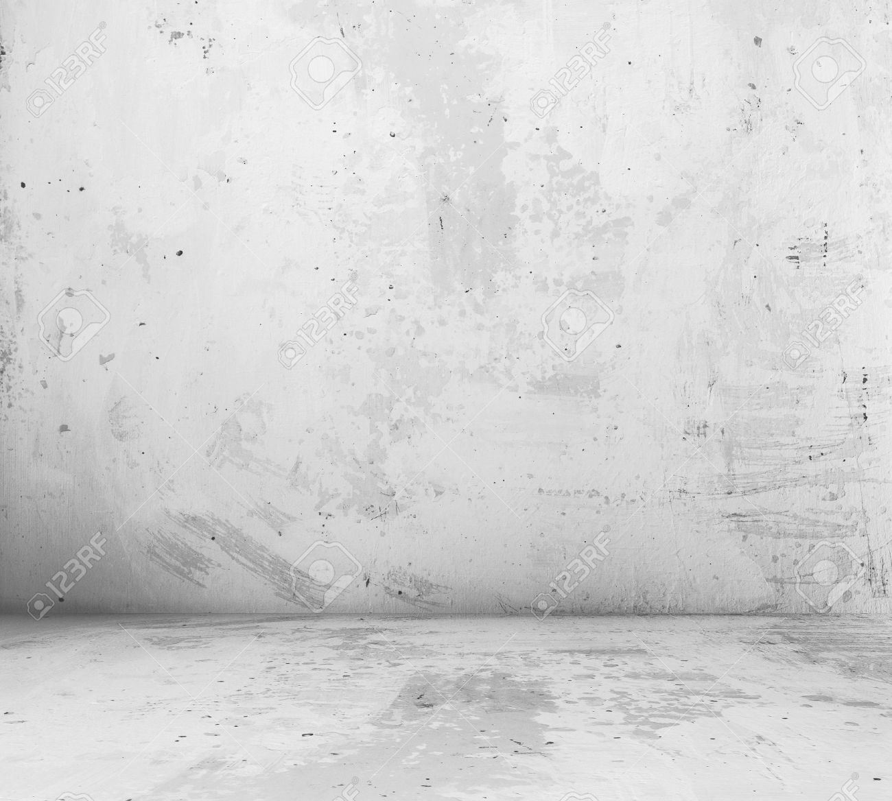 old empty room with concrete wall, grey interior background - 35195799