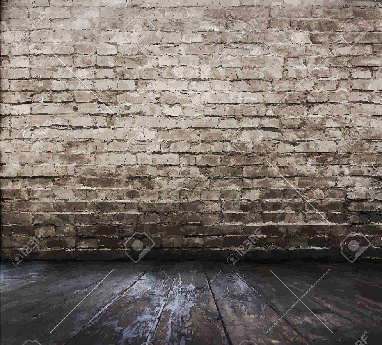 old room with brick wall, vector - 40313625