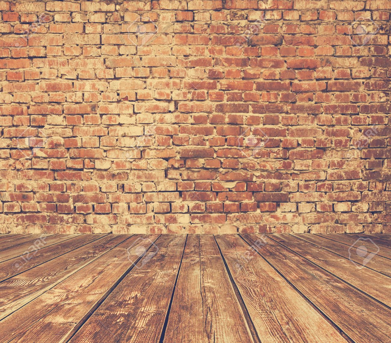 Plain wood table with hipster brick wall background stock photo - Old Room With Brick Wall Vintage Background Retro Film Filtered