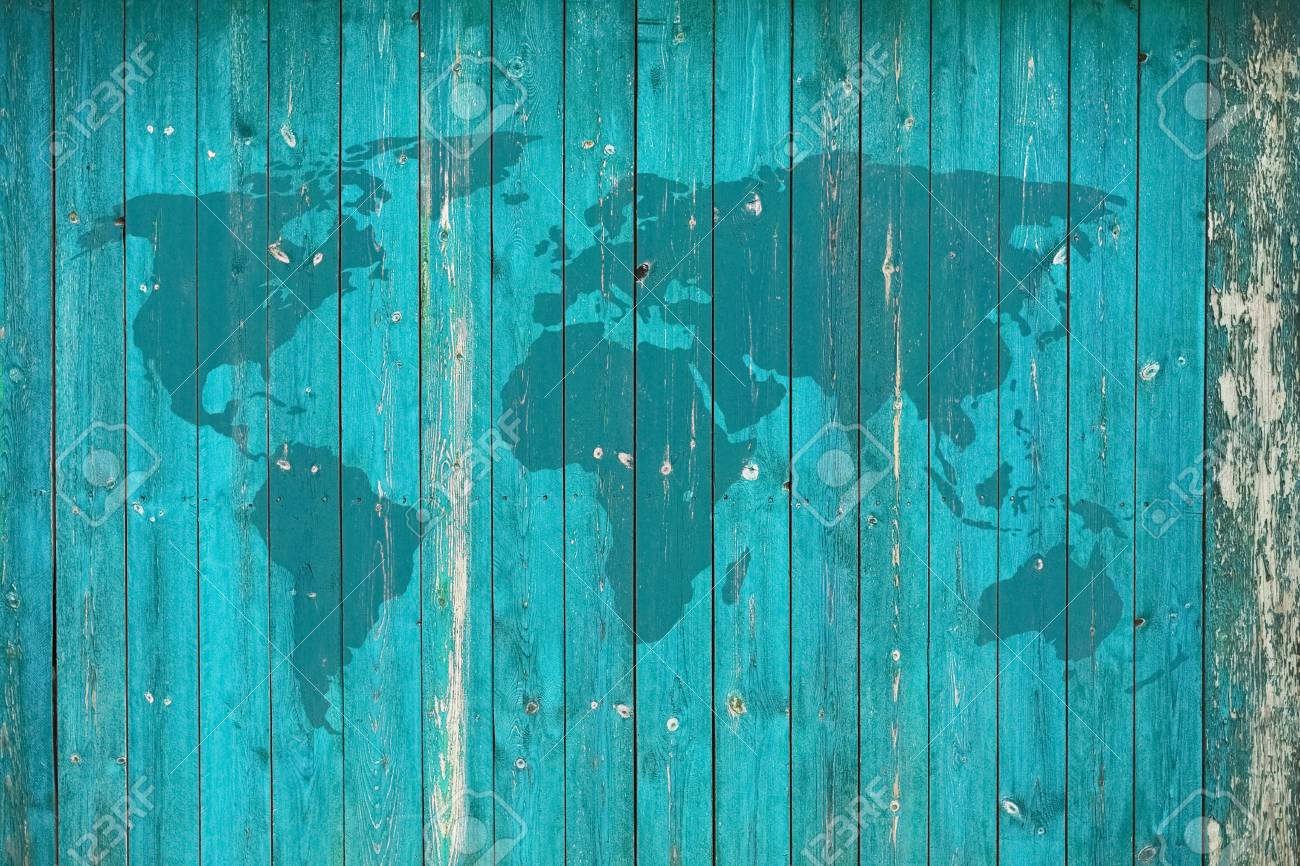World Map On Old Wooden Wall Lizenzfreie Fotos, Bilder Und Stock ...