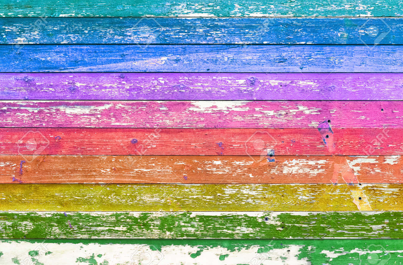Ð¡olorful wooden background texture. Multicolored planks wall. - 120606397