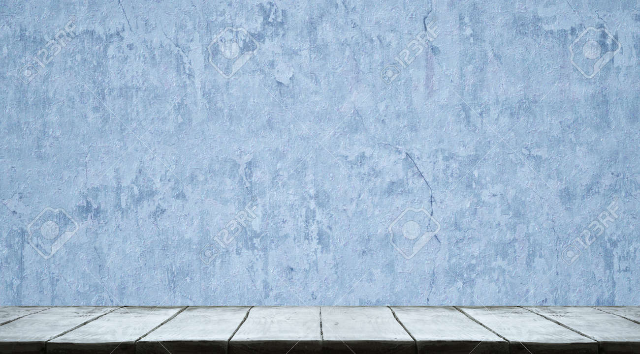Studio table background with blue wall - 158331947