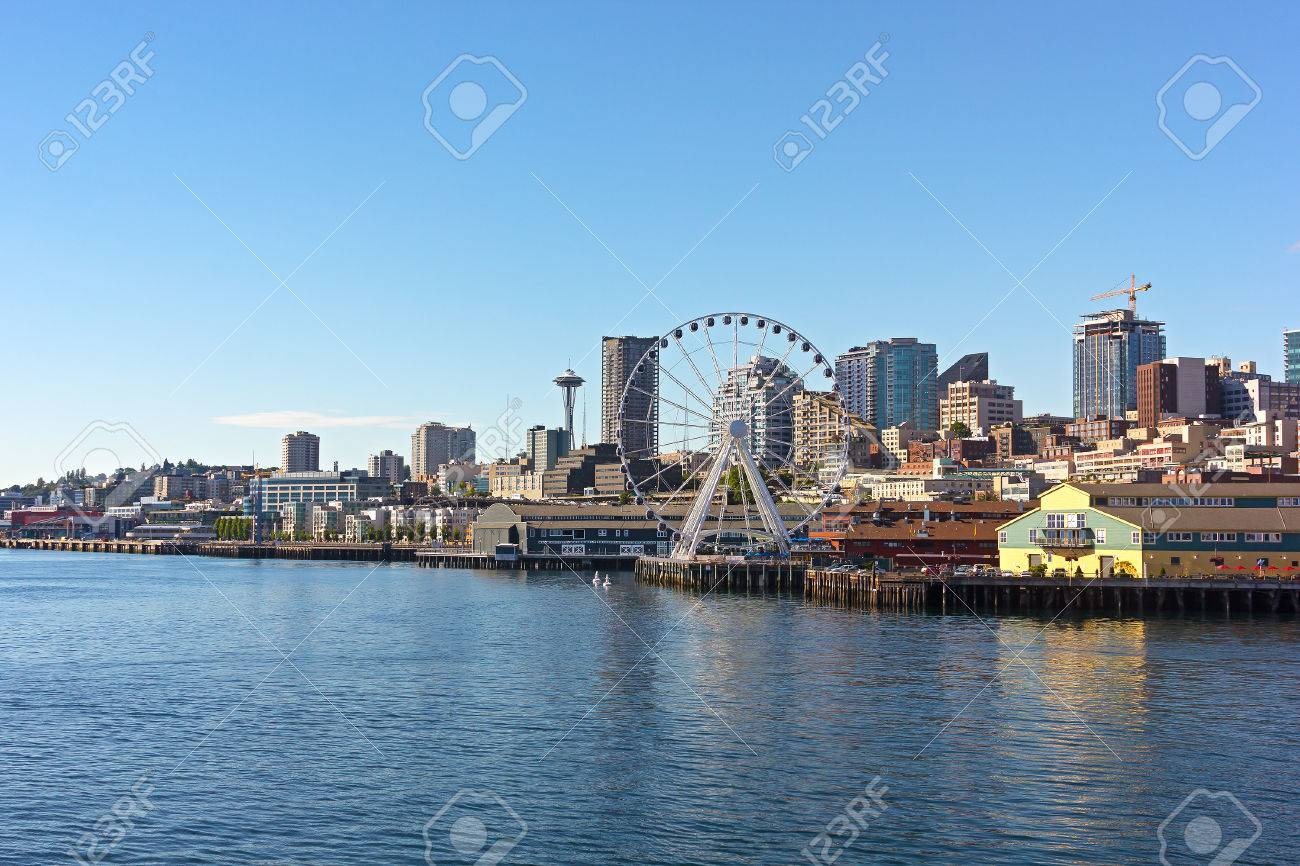 A View On Seattle Downtown From The Waters Of Puget Sound Piers