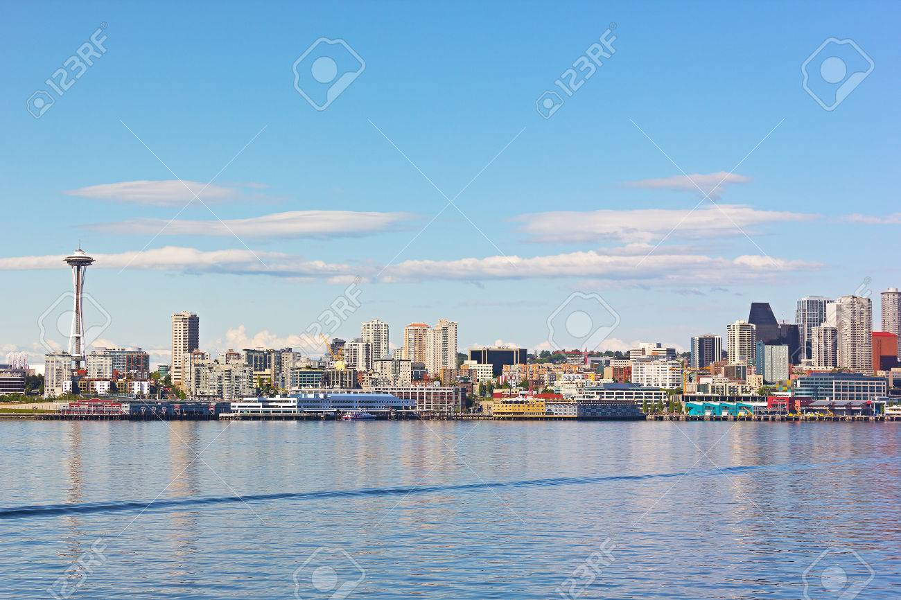 View On Seattle Downtown From The Waters Of Puget Sound City