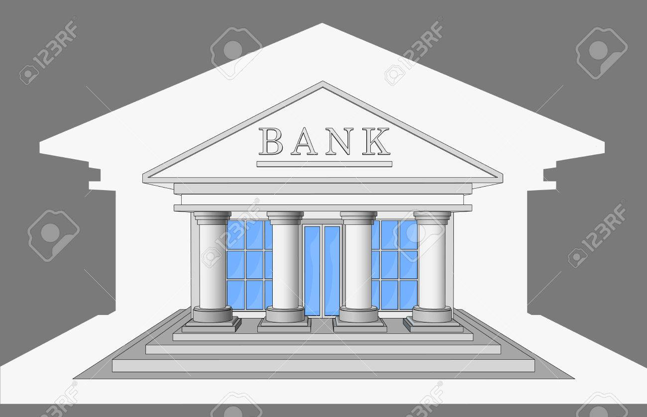 The Bank Building Front View Isolated Objects Stock Vector