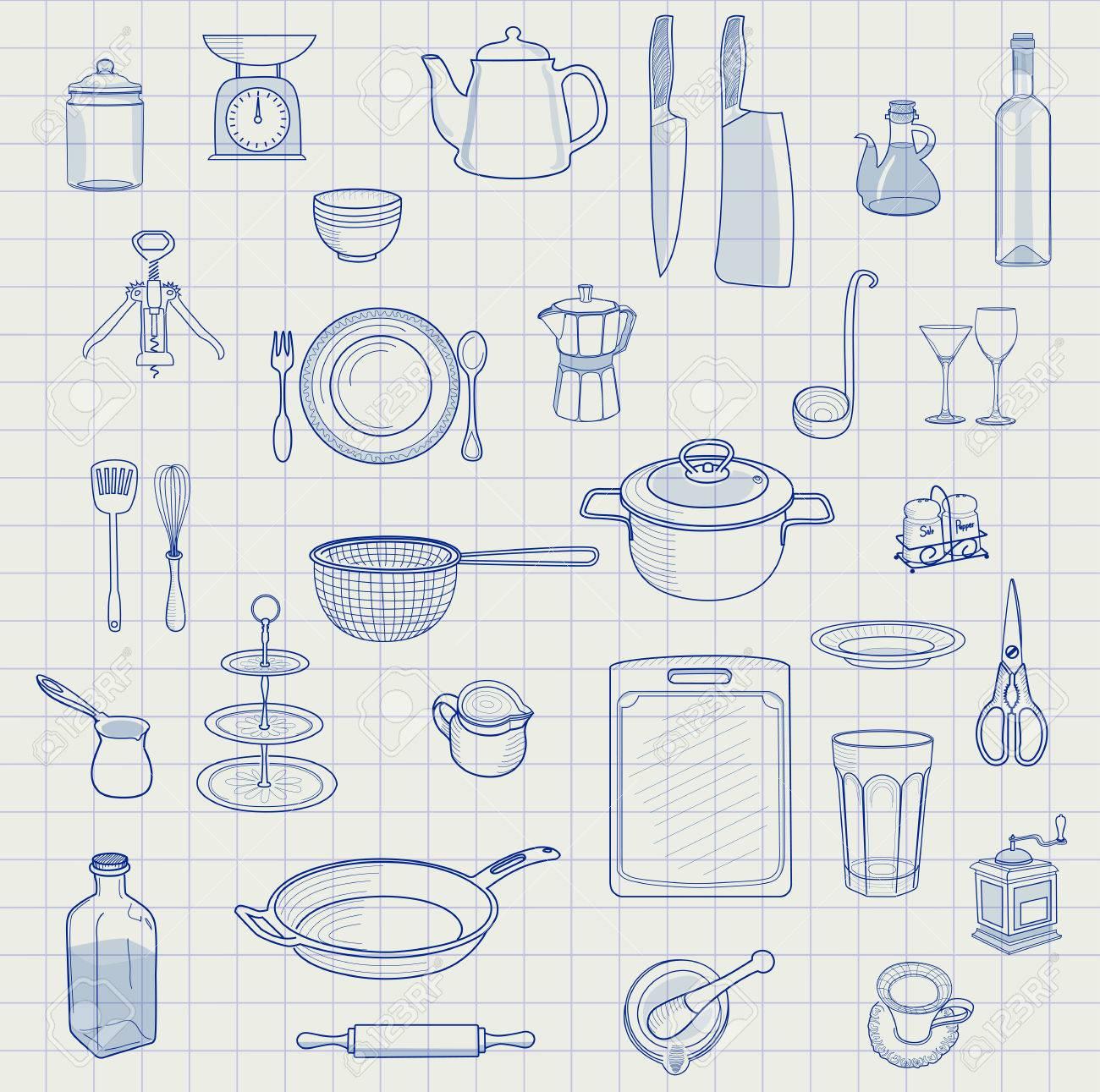 Bild Stift Küchenutensilien Gesetzt Lizenzfrei Nutzbare ...