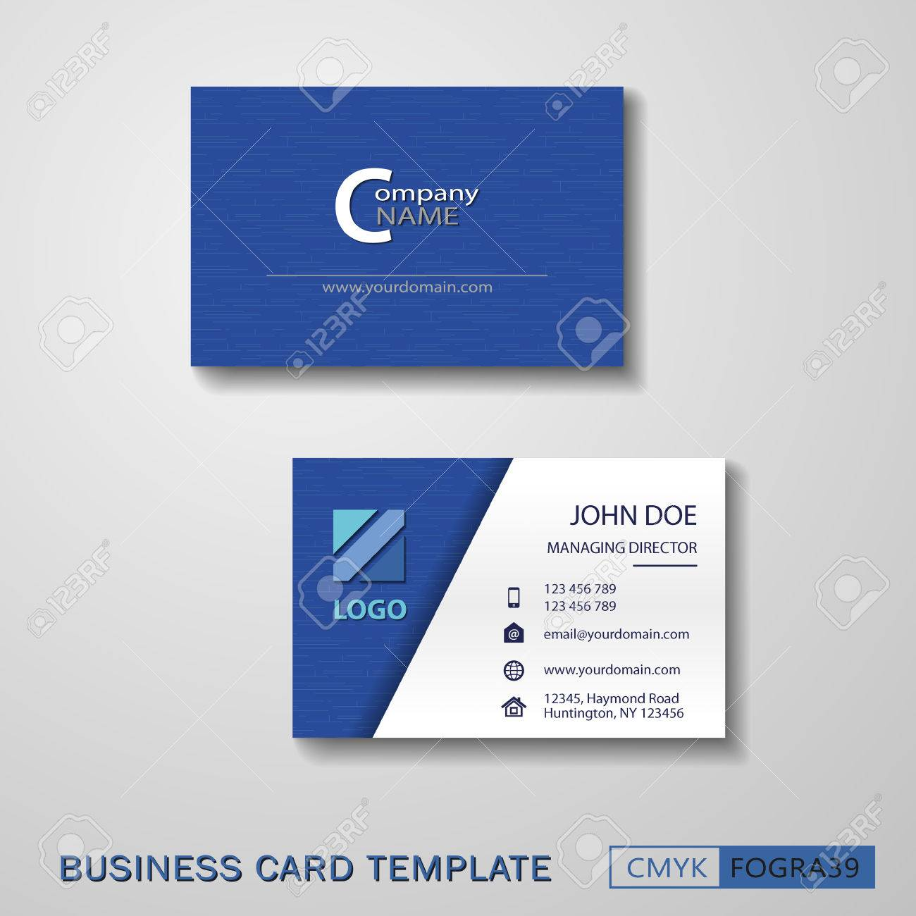 Vcard Business Card Set Blue. Royalty Free Cliparts, Vectors, And ...