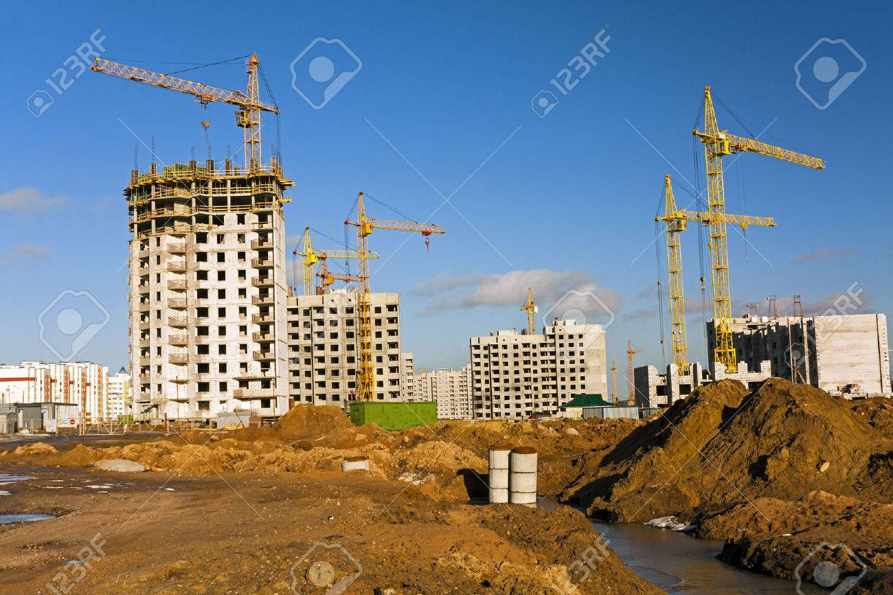 a construction site on which construction of a new multystoried house is carried out. - 40778356