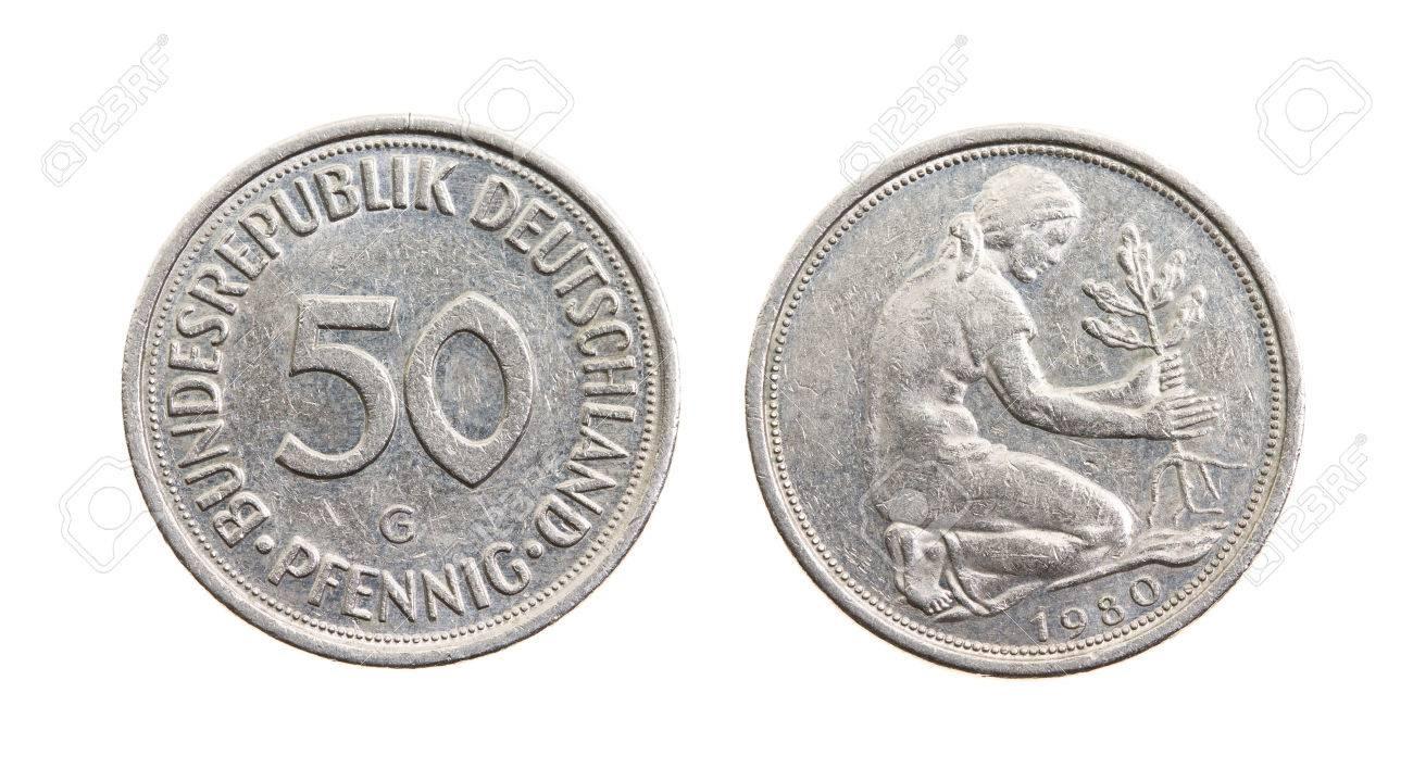 Alte Deutsche Münze Zeichen Isoliert Auf Weißem Lizenzfreie Fotos