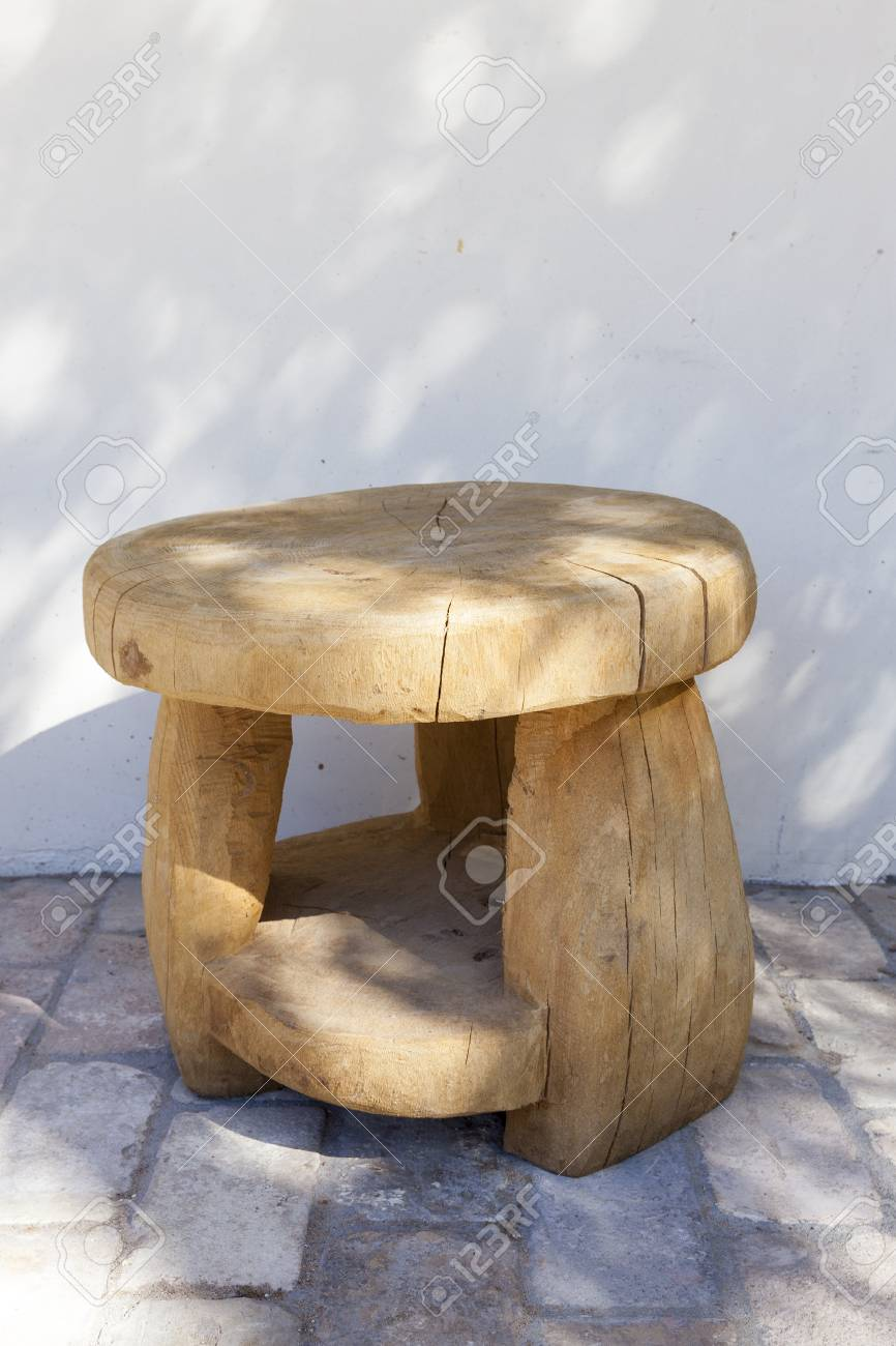 Admirable Round Wooden Stool Made By Hand From A Large Tree Trunk Stands Pabps2019 Chair Design Images Pabps2019Com