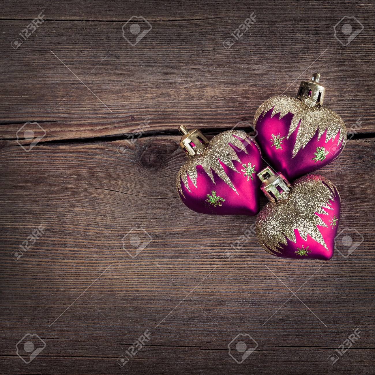 Red Heart Over Rustic Wooden Background Texture Close