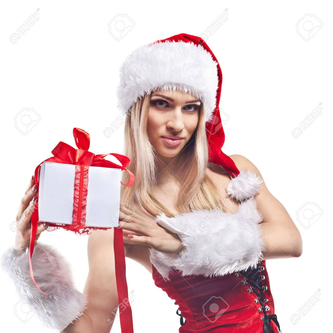 Beautiful woman in Santa Clause costume with extra long blonde hair Winter portrait of sexy girl  sc 1 st  123RF.com & Beautiful Woman In Santa Clause Costume With Extra Long Blonde ...