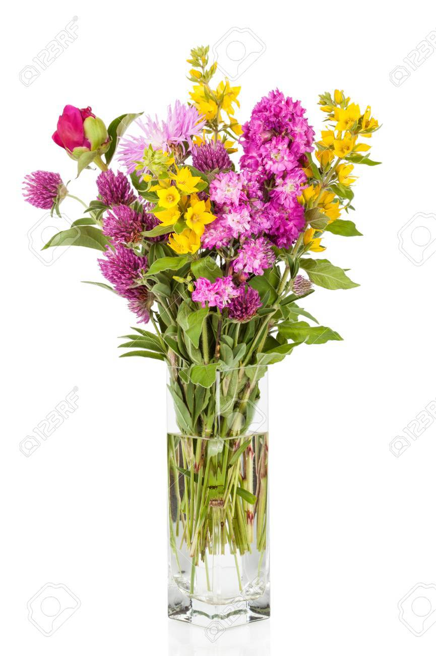 Beautiful Wild Flowers Bouquet. Wildflowers In Vase Stock Photo ...