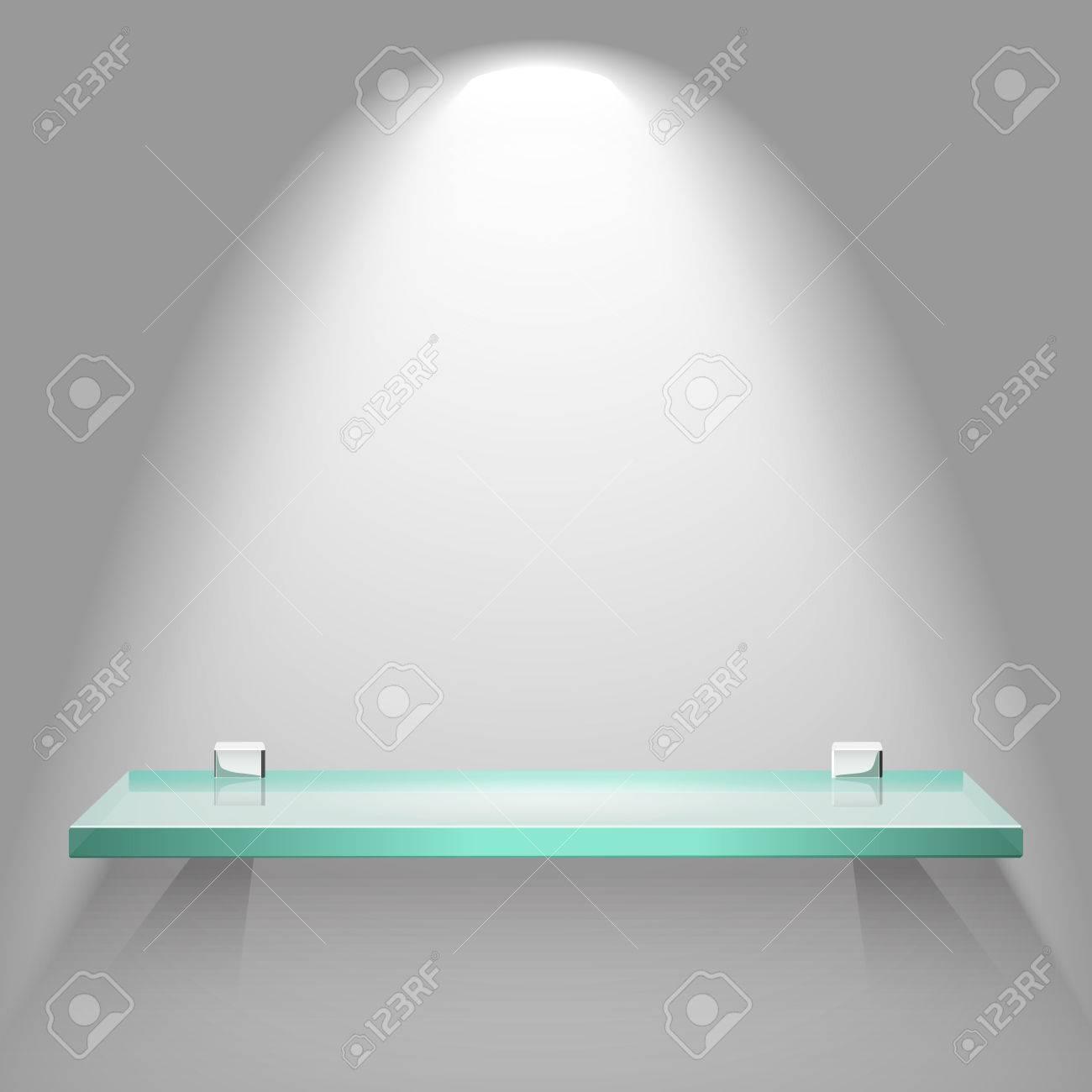 Mensole In Vetro Luminose.Vettoriale Mensola Di Vetro Vuota Sotto Luce Soffusa Luminosa