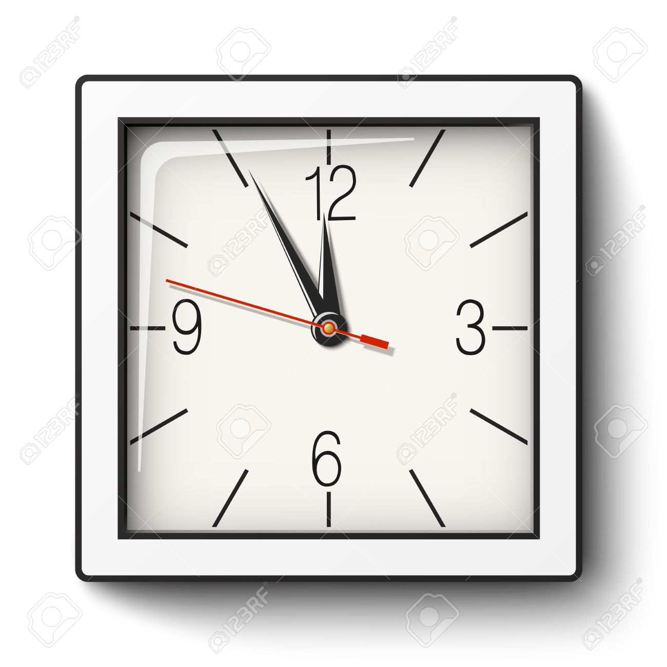 Square Wall Clock In White Body With Black Edging Royalty Free Cliparts Vectors And Stock Illustration Image 66949871