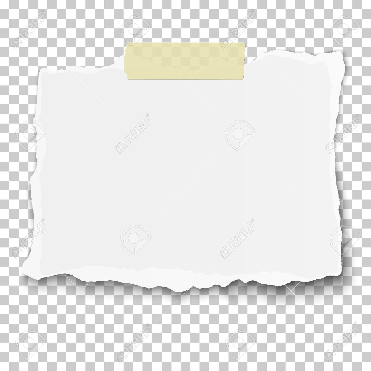 Vector ragged piece of white paper on sticky adhesive tape placed transparent checkered background - 67767183