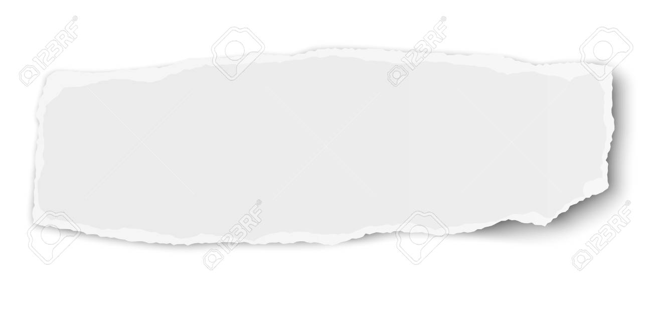 White vector elongate paper tear wisp with soft shadow isolated - 112235038