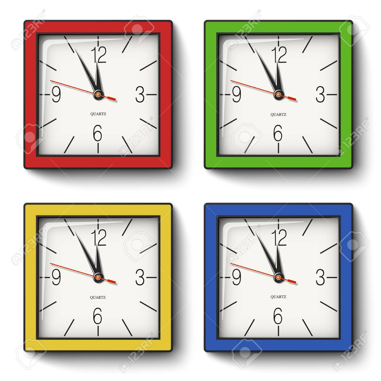 Collection Of Square Wall Clocks In Red Green Yellow Blue Royalty Free Cliparts Vectors And Stock Illustration Image 112235040