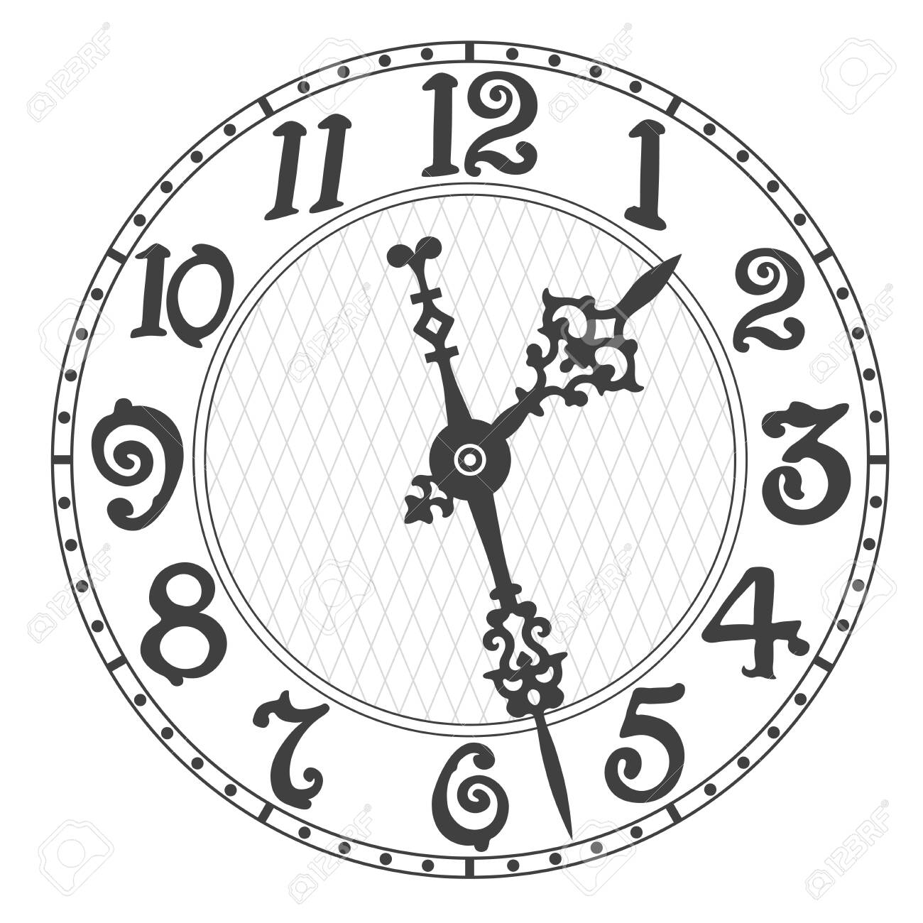 Elegant clock face and clock hands with tick marks placed on a white. Vector illustration. - 144216120