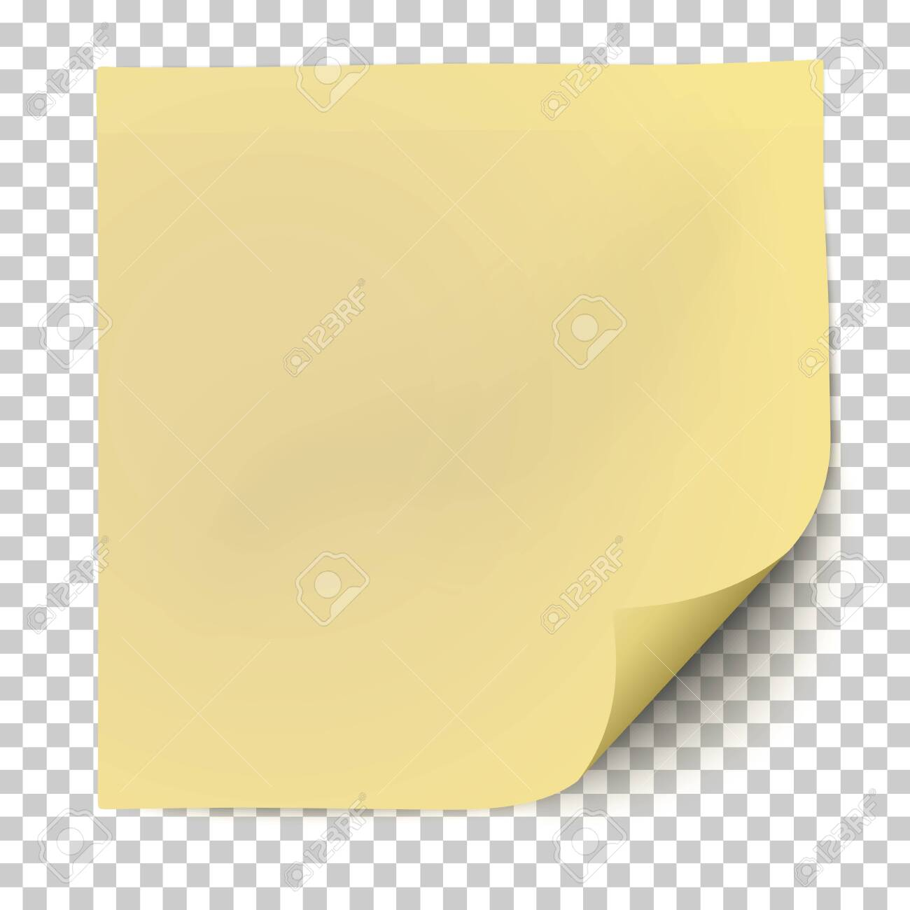 Office yellow paper sticker with curled the lower right corner and shadow isolated on transparent background. Template vector post note. - 148970804